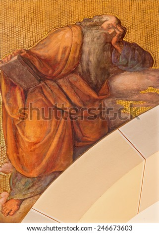 VIENNA, AUSTRIA - DECEMBER 17, 2014: The fresco of prophet Jeremiah by Josef Kastner the younger from 20. cent in the church Muttergotteskirche. - stock photo