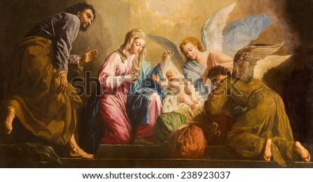 VIENNA, AUSTRIA - DECEMBER 17, 2014: The Nativity paint in presbytery of Salesianerkirche church by Giovanni Antonio Pellegrini (1725-1727). - stock photo