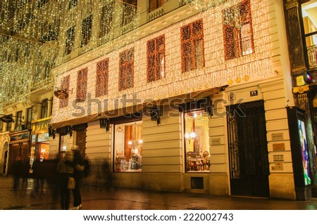 VIENNA, AUSTRIA - December 11, 2009: Vienna - street at night with Christmas lights in Vienna, Austria. on December 11, 2009 - stock photo