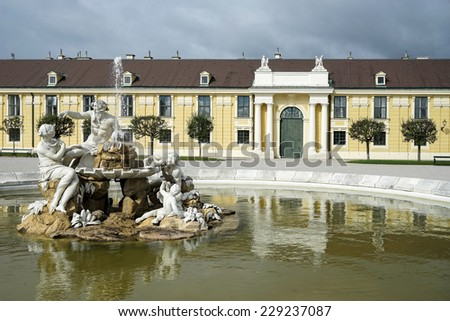 VIENNA, AUSTRIA/EUROPE - SEPTEMBER 23 : Danube, Inn, and Enns statues at the Schonbrunn Palace in Vienna on September 23, 2014 - stock photo