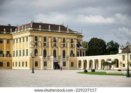 VIENNA, AUSTRIA/EUROPE - SEPTEMBER 23 : Schonbrunn Palace in Vienna Austria on September 23, 2014. Unidentified people. - stock photo