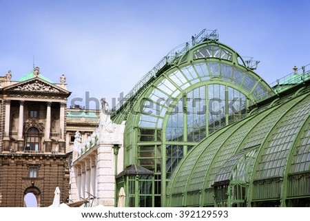 Vienna, Austria - Hofburg Palace and Butterfly Greenhouse (Schmetterlinghaus). The Old Town is a UNESCO World Heritage Site. - stock photo
