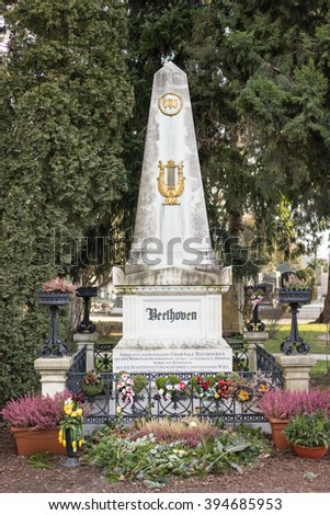 VIENNA, AUSTRIA - ,JANUARY 19, 2016: Last Resting Place of composer Ludwig van Beethoven Grave at the Vienna Central Cemetery in Vienna, Austria. - stock photo