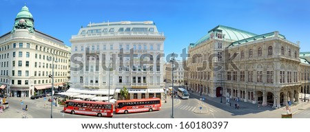 VIENNA, AUSTRIA - JULY 28: Panoramic view of Vienna on July 28, 2013 in Vienna, Austria. Vienna is the 7th-largest city by population in the European Union with a population of about 1.7 million. - stock photo