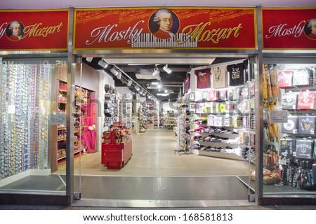 VIENNA, AUSTRIA - JUNE 8: a Mozart themed souvenir shop on June 9, 2013 in Vienna, Austria. Austrain composer Wolfgang Amadeus Mozart died in Vienna in 1791. - stock photo