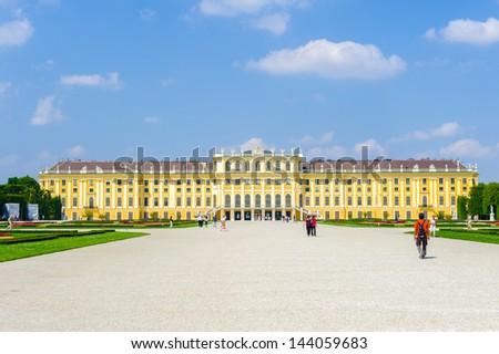 VIENNA, AUSTRIA - JUNE 17: Panorama of the Schonbrunn Palace, on June, 17, 2013 in Vienna, Austria. - stock photo