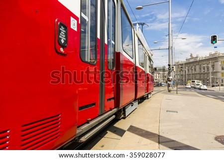 VIENNA, AUSTRIA - June 2015: Red vintage tramway SGP Type E1. - stock photo