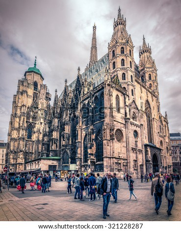 VIENNA, AUSTRIA - JUNE 19, 2015: Tourists visiting monumental gothic St. Stephen's Cathedral ( Stephansdom ) in Vienna, Austria - stock photo