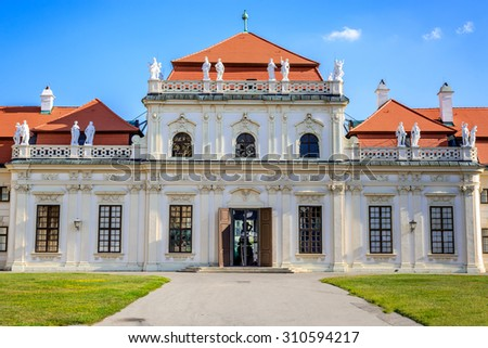 Vienna, Austria. Lower Belvedere Palace building. The Old Town is a UNESCO World Heritage Site. - stock photo