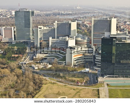 VIENNA, AUSTRIA - MARCH 22: aerial view of buildings on March 22, 2015 in Vienna, Austria. Vienna is the capital of Austria and host city of the 2015 Eurovision Song Contest from 19-23 May. - stock photo