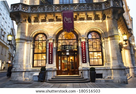 "VIENNA, AUSTRIA - MARCH 8 : Entrance of the famous ""Cafe Central"", one of the oldest traditional coffe houses of Vienna, Austria on March 8th, 2013 in Vienna, Austria - stock photo"