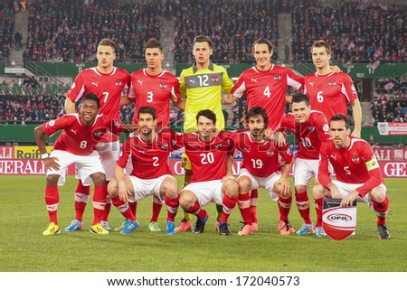 VIENNA,  AUSTRIA - MARCH 22 The Austrian team poses before the world cup qualifier game on March 22, 2013 in Vienna, Austria. - stock photo