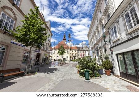 VIENNA, AUSTRIA - MAY 7, 2015: Pedestrian area in the city center of Mödling - Lower Austria - stock photo