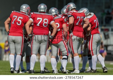 VIENNA, AUSTRIA - MAY 26, 2014: Team Austria in the huddle during the game. - stock photo