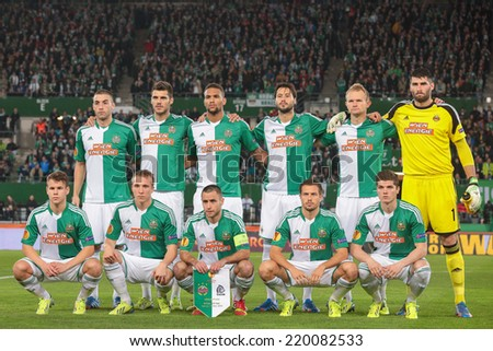 VIENNA, AUSTRIA - NOVEMBER 7 The team of SK Rapid poses before a UEFA Europa League game on November 7, 2013 in Vienna, Austria. - stock photo
