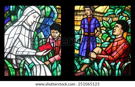 VIENNA, AUSTRIA - OCTOBER 11: Africa window, Stained glass in Votiv Kirche (The Votive Church). It is a neo-Gothic church in Vienna, Austria on October 11, 2014 - stock photo