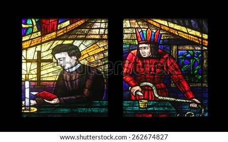 VIENNA, AUSTRIA - OCTOBER 11: America Window, Stained glass in Votiv Kirche (The Votive Church). It is a neo-Gothic church located on the Ringstrabe in Vienna, Austria on October 11, 2014 - stock photo