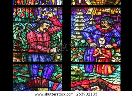 VIENNA, AUSTRIA - OCTOBER 11: Asia window, Stained glass in Votiv Kirche (The Votive Church). It is a neo-Gothic church located on the Ringstrabe in Vienna, Austria on October 11, 2014 - stock photo
