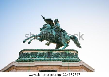 VIENNA, AUSTRIA - OCTOBER 19, 2015: Equestrian monument of Archduke Charles on Heldenplatz, Vienna, Austria - stock photo