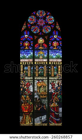VIENNA, AUSTRIA - OCTOBER 11: Eucharistic Congress, Stained glass in Votiv Kirche (The Votive Church). It is a neo-Gothic church in Vienna, Austria on October 11, 2014 - stock photo