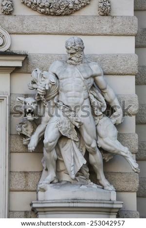 VIENNA, AUSTRIA - OCTOBER 10: Hercules and Cerberus, Hofburg in Vienna, Austria on October 10, 2014. - stock photo