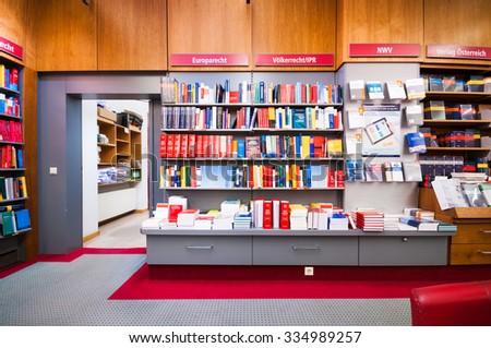 VIENNA, AUSTRIA - OCTOBER 19, 2015: Interior of bookstore Manz in Vienna, Austria - stock photo