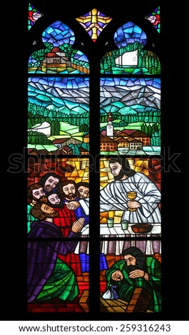 VIENNA, AUSTRIA - OCTOBER 10: Last supper, Stained glass in Votiv Kirche (The Votive Church). It is a neo-Gothic church located on the Ringstrabe in Vienna, Austria on October 10, 2014 - stock photo