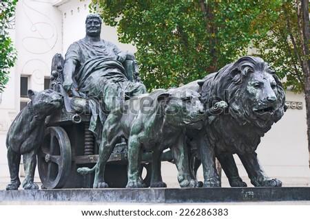 VIENNA, AUSTRIA - OCTOBER 13, 2014: Statue of Marcus Antonius by Arthur Strasser beside Secession building, Vienna, Austria - stock photo