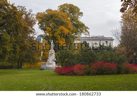 Vienna , Austria. Sculpture in urban public park in autumn - stock photo