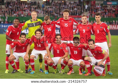VIENNA, AUSTRIA - SEPTEMBER 10 The Austrian team pose before the World Cup Qualifying game against Irleand on September 10, 2013 in Vienna, Austria. - stock photo