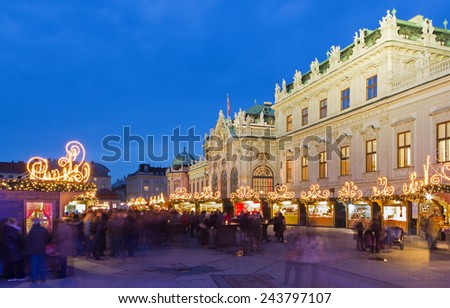 Vienna - Belvedere palace at the christmas market in dusk - stock photo