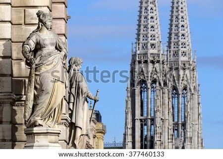 Vienna city hall - sculpture - stock photo