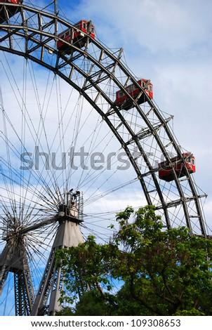 Vienna Ferris wheel The Ferris wheel is one of the landmark from Vienna. - stock photo