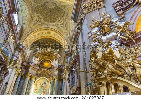 VIENNA - Jan 21 : Cupola of baroque at st. Peter church (Peterskirche) with the fresco from year 1713 by Johann Michael Rottmayr on Jan 21, 2015 Vienna - stock photo