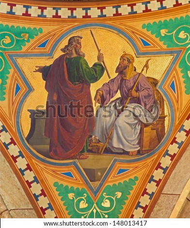 VIENNA - JULY 27:  Fresco of Moses for the Pharaoh scene from 19. cent. in Altlerchenfelder church on July 27, 2013 Vienna.  - stock photo