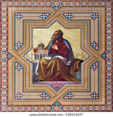VIENNA - JULY 27: Fresco of Zachariah prophets from 19. cent. by Carl Mayer in Altlerchenfelder church on July 27, 2013 Vienna.  - stock photo