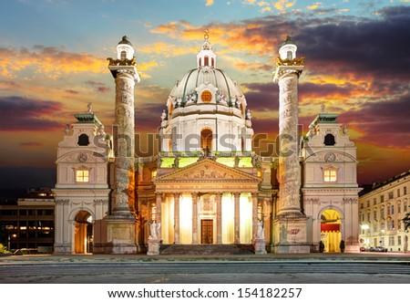 Vienna - Karlsplatz - St. Charles's Church - Austria - stock photo