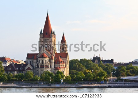 Vienna's catholic church devoted to Franz of Assisi - stock photo