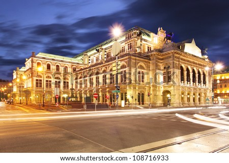 Vienna 's State Opera House at night, Austria - stock photo