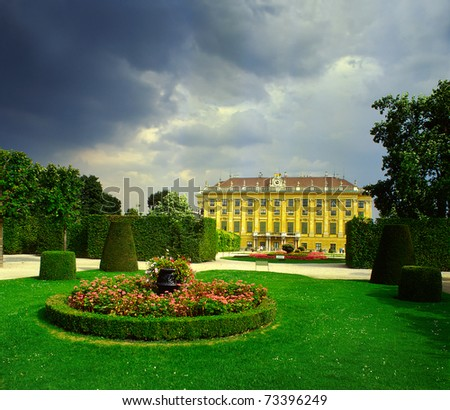 Vienna Schonbrunn - emperor's summer residence, Austria, UNESCO World Heritage Site - stock photo