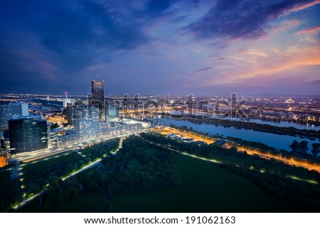 Vienna skyline by night, Austria - stock photo