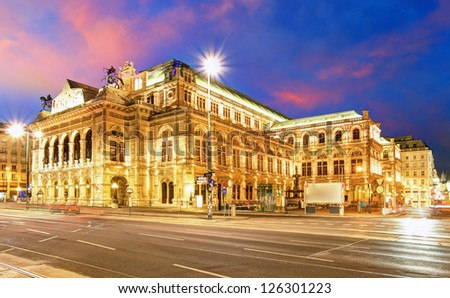 Vienna State Opera House at night, Austria, Theater - stock photo