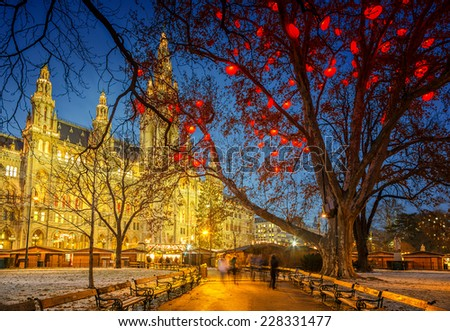 Vienna Town Hall at night - stock photo