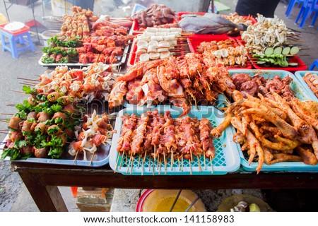 vietnam bbq street food - stock photo