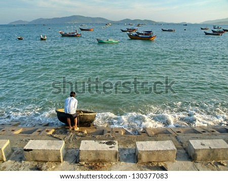 Vietnam boat - stock photo
