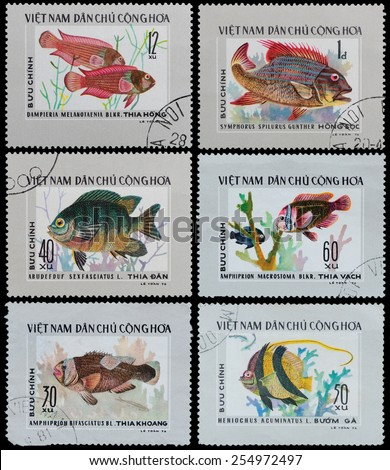 VIETNAM - CIRCA 1976: A stamp printed in the Vietnam, shows exotic fish, circa 1976 - stock photo