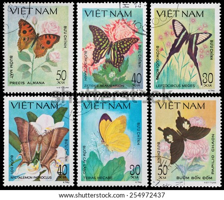 VIETNAM - CIRCA 1983: A Stamp printed in VIETNAM shows a butterfly, circa 1983 - stock photo