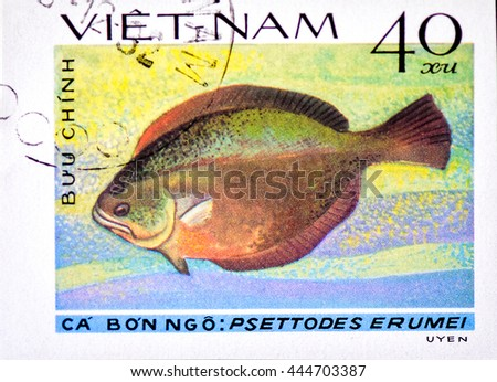 "VIETNAM - CIRCA 1982: A Stamp printed in VIETNAM shows a Psettodes erumei , the series ""Flatfish"", circa 1982 - stock photo"