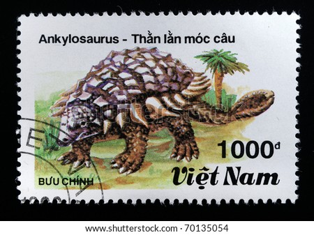 VIETNAM - CIRCA 1984: A stamp printed in Vietnam shows Ankylosauros, series devoted to prehistoric animals, circa 1984 - stock photo