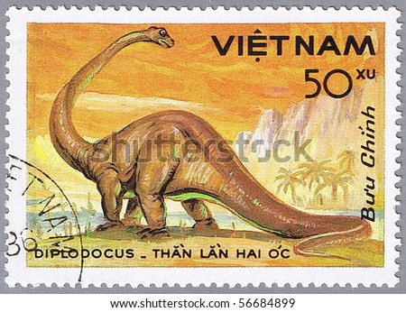 VIETNAM - CIRCA 1984: A stamp printed in Vietnam shows Diplodocus, series devoted to prehistoric animals, circa 1984 - stock photo